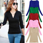 █ █ Fashion Women Loose Long Sleeve Tops Cotton Blouse T-Shirt Casual Blouse Tee