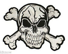 "SKULL AND BONES EMBROIDERED BACK PATCH 32CM x 26CM (12 1/2"" x 10 1/4"") Sew on"