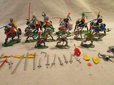 britains playset swoppet 15 th,century knights armoured horses weapons marx 54mm