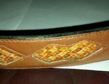 Steerhide Belt leather saddle brown western hand laced woven distressed sz.42