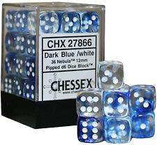 Chessex Dice (36) Block Sets 12mm D6 Nebula Blue w/ White Pips 36 Die CHX 27866