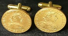 1718 Imperial Russian Tsar Peter the Great Russia Gold 2 Roubles Coin Cufflinks!