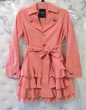 Algonquins Japan Light Pink Ruffled Trench Coat Small Jacket Harajuku Gyaru Lace