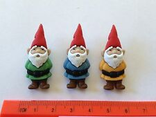 Three multicoloured Garden gnomes Novelty Dress It Up Buttons 7696