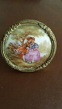 Limoges Miniature porcelain Picture in Brass Frame