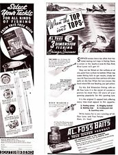 1939  Lot  (6) Fishing ads Pfluger Foss South Bend Creek Chub more Cabin Art