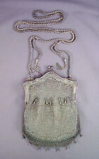 ANTIQUE Vintage GERMAN SILVER CHAIN MAIL MESH NOUVEAU FLOWER FRAME PURSE