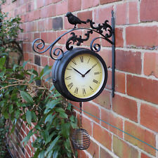 Black Rustic Outdoor Bird Clock ornate Garden Metal Roman Numeral wall mountable