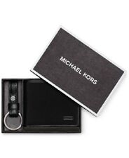 $285 MICHAEL KORS Jet Set Leather Bi-Fold BLACK BILLFOLD 6CC SLIM Wallet KEY FOB
