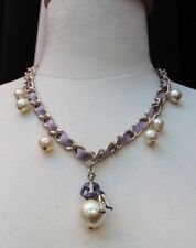 LOVE VINTAGE CHANEL 04P COCO ON THE MOON PEARL LAVENDER SILK NECKLACE