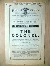 Prince of Wales's Royal Theatre 1881- IN HONOUR BOUND & THE COLONEL~F C Burnand