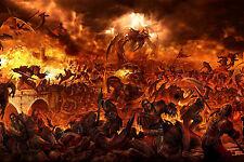 Enmarcado impresión: Caballeros lucha en los fuegos del infierno (imagen demonio Templarios Art)