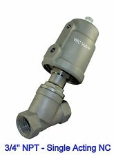 """3/4"""" Inch Pneumatic Single Acting Air Actuated Angle Seat Steam Valve NC"""
