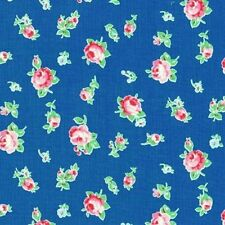 Cottage Shabby Chic Lecien Flower Sugar Floral 30843L-77 Blue Cotton Fabric BTY