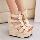 Sexy Roman Peep Toe Womens Punk Sandals Wedge Heels Strap Lace Up Platform Shoes