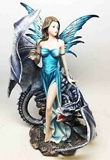 Crystal Bearer Fairy with Companion Black Dragon Fantasy and Magic Figurine