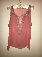 Chaiken Silk Blush Pink Sequin Sleeveless Blouse Tank Top Size Medium