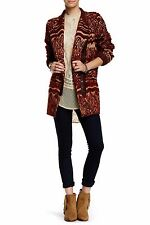 $500 Free People Faux Fur Patterned Asymmetrical Zip Tribal Coat Jacket, Large L