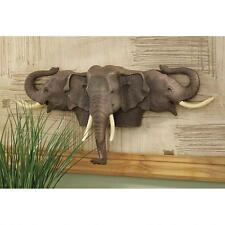 Trio of African Elephants Trophy Head Raised Trunks for Good Luck Wall Sculpture