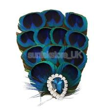 Peacock Blue Feather Bride Hair Clip Fascinator Crystal Decor Wedding Party