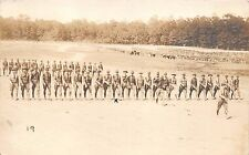 U.S ARMY WW1 BATALLION PASSING REVIEW BY COLONEL W J MAYO REAL PHOTO POSTCARD