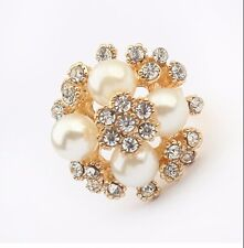 Nice New Fashion Gold Plated Rhinestone & Pearls Flowers Finger Ring Adjustable