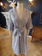 LANE BRYANT Whit/Blue Striped Cotton Blend Button Front Shirt Dress 22W