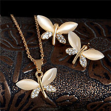 Shiny Opal Crystal Dragonfly Earrings Necklace 18K Gold Plated Fine Jewelry Set