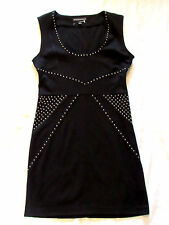 Rock & Republic Sphinx Black Tie Beaded Studded Embellished Ponte Sheath Dress S