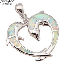 OP507 Two Dolphins Design White Fire Opal Silver Stamped Necklace Pendant