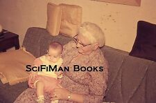 35mm Vintage Slide Woman Grandmother Glasses Dress Holding Baby Sofa 1968 L@@K!