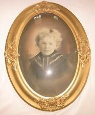 Antique Victorian Girl Child Portrait in Floral Gesso Wood Frame, Convex Glass