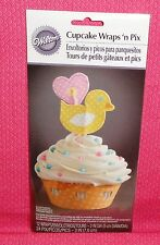 Baby Shower Cupcake Wraps,Yellow Ducky,12 ct.Wilton, Multi-Color,Decoration