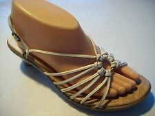 Sofft White Leather Strappy Sandals Slingback Heels Shoe Size 7.5 W Wide @cLOSeT