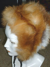 Vintage Fox Fur Hood Cap Hat Tied Lined Youth or Adult Small Medium EUC