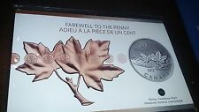 2012 20$ Fine Silver Coin FAREWELL TO THE PENNY MINT Canada 0.9999 Pure Seal