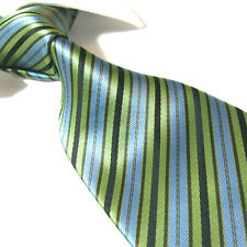 Extra Long Polyester Woven Tie,Microfibre Green/Black/Blue XL Necktie PL356 63""