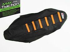 KTM SX/F SXF450 2007 2008 2009 2010 RIBBED SEAT COVER BLACK WITH ORANGE STRIPES