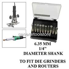 "10 PIECE DIAMOND BURR BIT SET DRILL DIE GRINDER ROUTER 6.35 MM 1/4"" SHANK CUTTER"