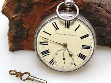 IMPROVED PATENT Taschenuhr   Schlüsselaufzug   Silber