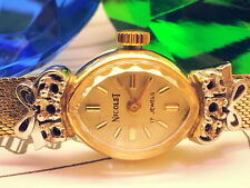 RARE-SCARCE (14K SOLID GOLD WHITE & YELLOW GOLD) NICOLET VINTAGE LADIES WATCH