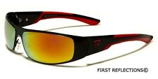 Khan Men's Youth Wrap Around Sport Baseball Cycling Ski Sunglasses Dark & Mirror