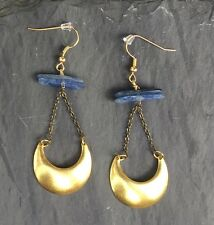 Anthropologie Brass Crescent Moon Kyanite & Antiqued Chain Gold hooks Earrings