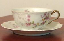 Charles Ahrenfeldt Depose France Limoges  Cup & Saucer, Pink & Yellow Flowers