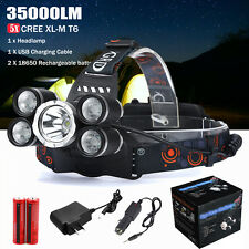 35000LM 5x CREE XML T6 LED Headlamp HeadLight Torch Lamp Rechargeable Flashlight