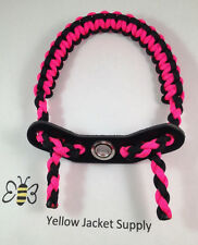 Archery Pink / Black Paracord Bow Wrist Sling Leather Yoke