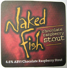 NAKED FISH CHOCOLATE RASPBERRY STOUT Beer COASTER, Mat, DuClaw, MARYLAND 2014