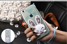 Cute 3d white rabbit clear tpu case for iPhone 6 6s i5 5s 5g se 6 6s plus cover