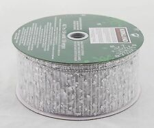 Silver Sequin Sparkle Sheer Silver Wide Wired Ribbon 50 Yards NEW wedding party