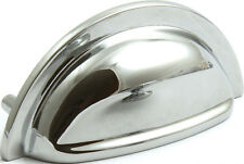 6 POLISHED CHROME FINISH CUP PULL HANDLE KNOB KITCHEN CABINET CUPBOARD FURNITURE